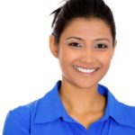 25373347 - closeup head shot portrait of confident smiling happy pretty young woman wearing blue shirt